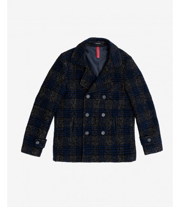 Wool mix check Peacoat