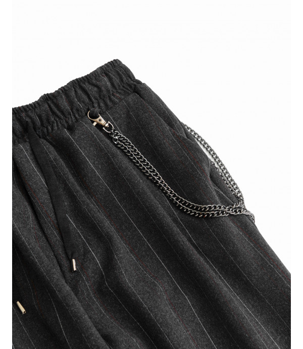 Pinstriped drawstring trousers with chain