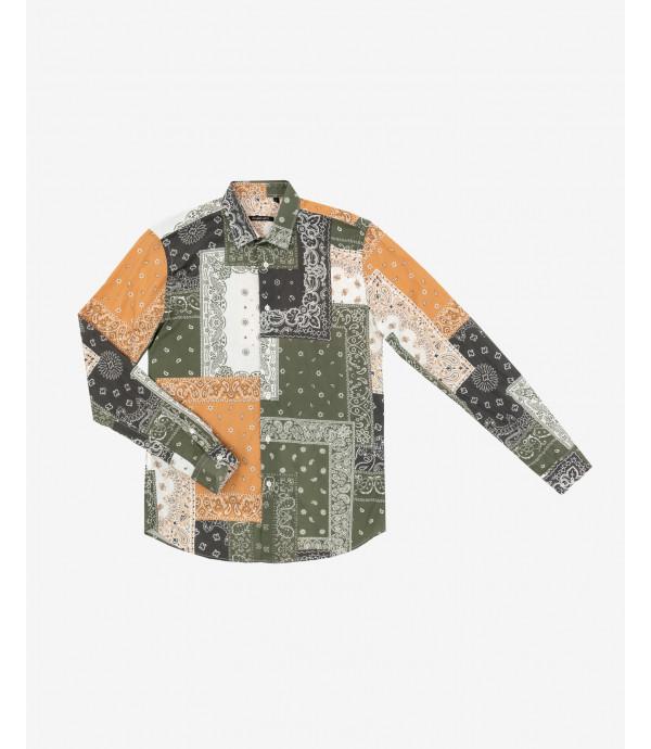 Patchwork shirt with bandana pattern