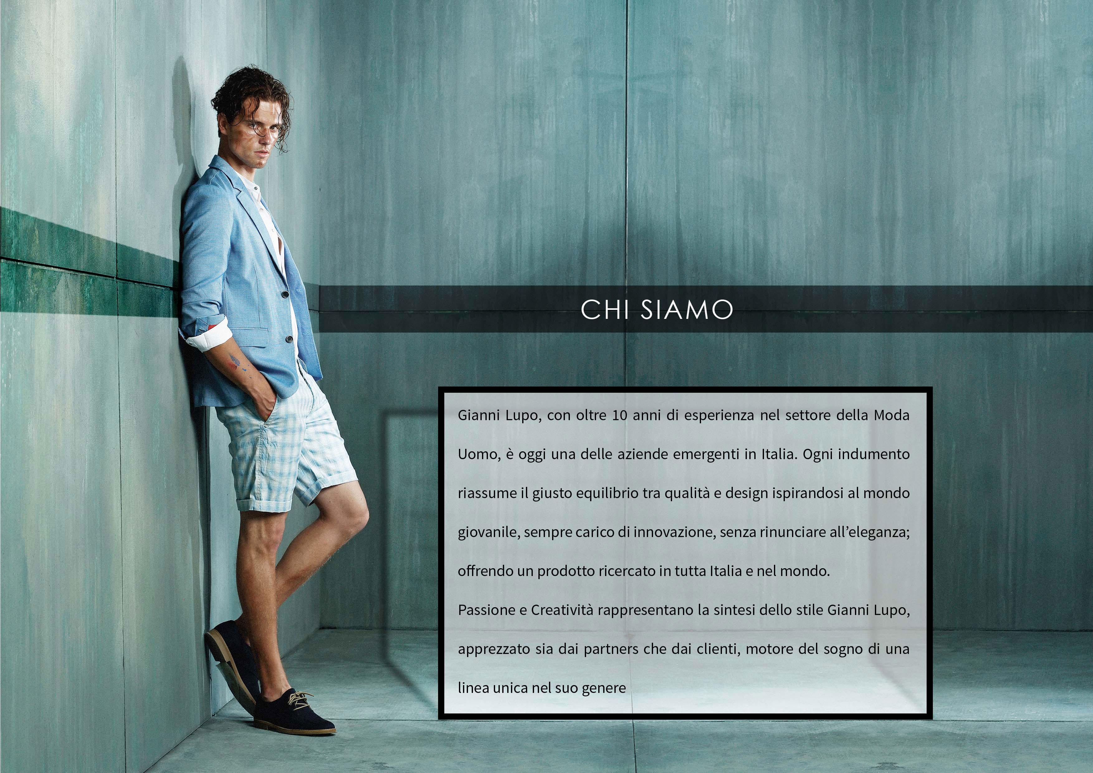 Gianni Lupo. Moda Uomo. Ermengenti in Italia. Design giovanile, innovativo, elegante e unica.